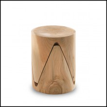 Tabouret en cèdre massif naturel 154-Step Set of 2
