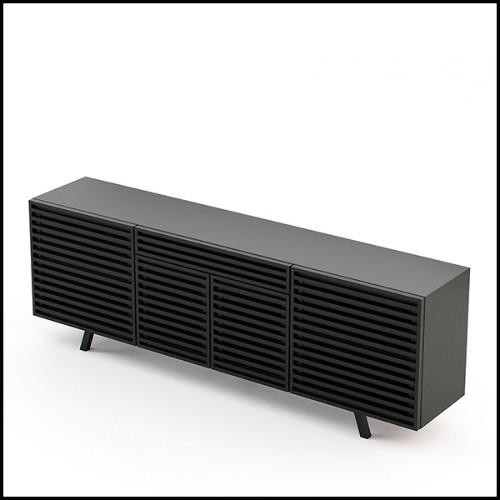 Chaise avec tissu en velours coloris bleu 176-Lalia