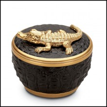 Candle box with 24 Karat Gold Plate 172-Gold Croco