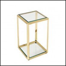 Side Table in Gold Finish or Smoked Chrome Finish 162-Limpia