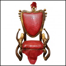 Armchairs in Solid Beech Wood PC-Red Croco and Horns