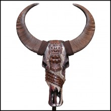 Sculpture with real buffalo skull and horns PC-Buffalo Croco