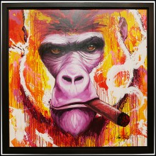 Painting with black oak wooden frame PC-Yaounde Smoke a Cigar
