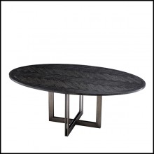 Dining table with charcoal oak veneer top 24-Brass Oval Black