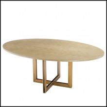 Dining table with charcoal oak veneer top 24-Brass Oval