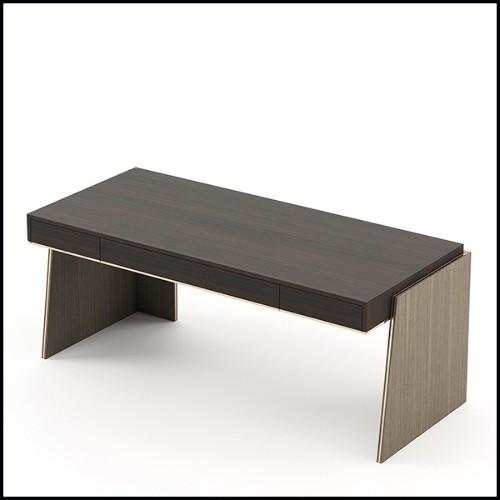 Table basse finition antique Gold avec plateau en verre clair biseauté 24-Epis
