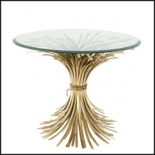 Side Table in antique Gold finish with beleved clear glass top 24-Bonheur 90cm