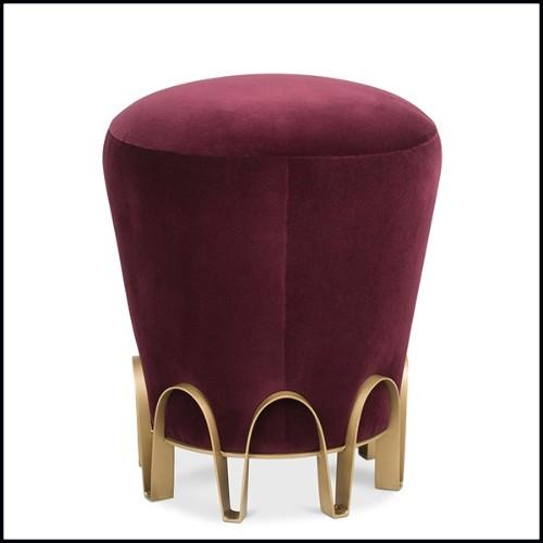 Table d'appoint finition Gold antique avec plateau en verre clair biseauté 24-Bonheur 90cm