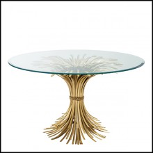 Dining Table in brass in antique Gold finish 24-Bonheur