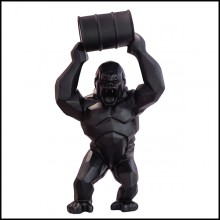 Sculpture in Black Matt Resine Orlinski PC-Gorilla Kong Black