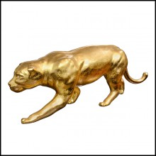 Sculpture finition Gold, yeux finition doré en cristal Swarovski PC-Panther in Gold Finish