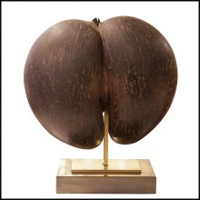 Sculpture sur base en laiton poli PC-Real Coconut from Praslin