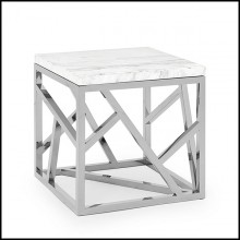 Table d'appoint avec structure en métal finition chrome ou gold et plateau en marbre blanc 162-Raytona