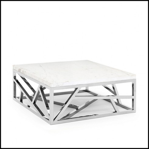 coffee table with structure in copper color chrome finish and white marble top 162 raytona