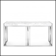 Console Table with metal structure in copper finish or gold or chrome with white marble top 162-Villa