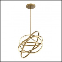 Chandelier in brass in antique finish with integrated LED lights 24-Cassini