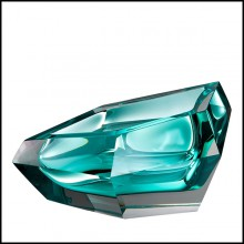 Ashtray in crystal glass 24-Alma Turquoise