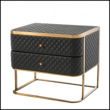 Side table in brushed brass and in leather look 24-Monfort