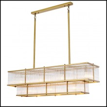 Chandelier in brass in antique finish and clear glass 24-Le Marais