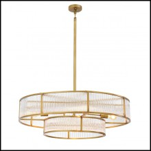 Chandelier in brass in antique finish and clear glass 24-Montparnasse