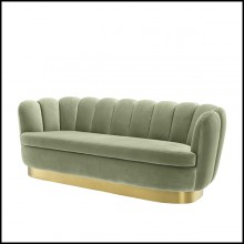Sofa with pistache velvet fabric and brushed brass base 24-Mirage Pistache