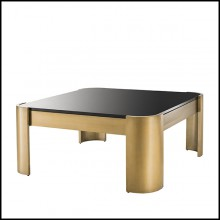 Coffee Table in stainless steel and top in smoked black glass 24-Courrier