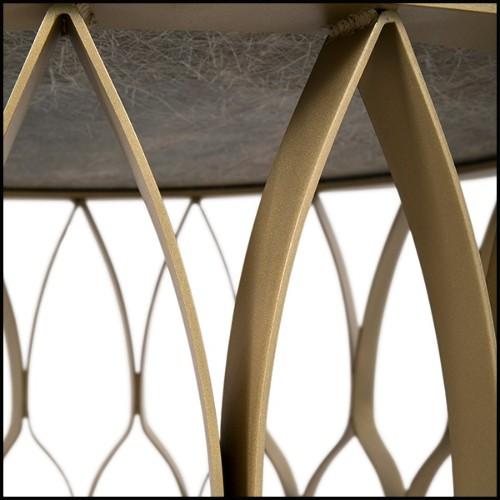 Bureau avec plateau en laiton et base en fer finition black 24-Vauclair
