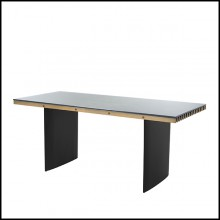 Desk with top in brass and base in iron in black finish 24-Vauclair