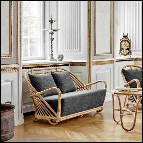 Meuble TV en acier inoxydable et chêne finition mocha avec plateau en verre 24-Wagner