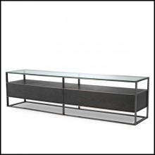 TV Cabinet in stainless steel and oak in mocha finish with top in glass 24-Wagner