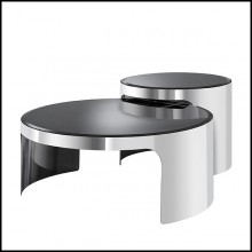 Tables basses avec structure en acier inoxydable et plateau en verre biseauté 24-Piemonte Set of 2