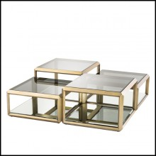 Coffee Tables with structure in stainless steel in brushed brass finish 24-Callum Set of 4