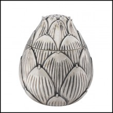 Box in brass in antique silver plated finish 24-Artichoke Silver