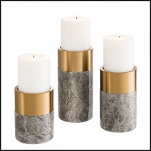 Candle Holder in grey marble and brushed brass 24-Sierra Set of 3