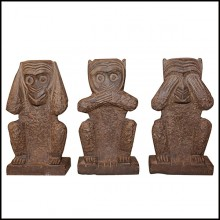Sculpture en pierre sculptée PC-Stone Monkeys Set of 3 Large