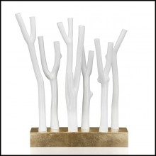 Sculpture with resin branches in white lacquered finish 162-Three Inches
