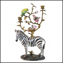 Sculpture Candleholder in white porcelain with brass details 162-Zebra