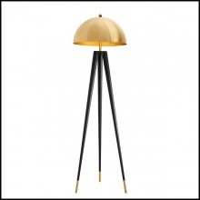 Floor Lamp with structure in iron in gold finish and legs in black finish 24-Coyote