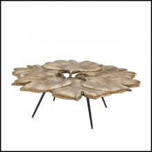 Coffee Table in iron with top in brass in vintage finish 24-Ginkgo