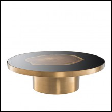 Coffee Table in brass with top in Suar wooden inlay 24-Concord