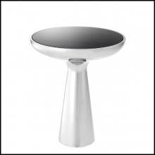 Table d'appoint avec structure en acier inoxydable finition poli 24-Lindos Chrome