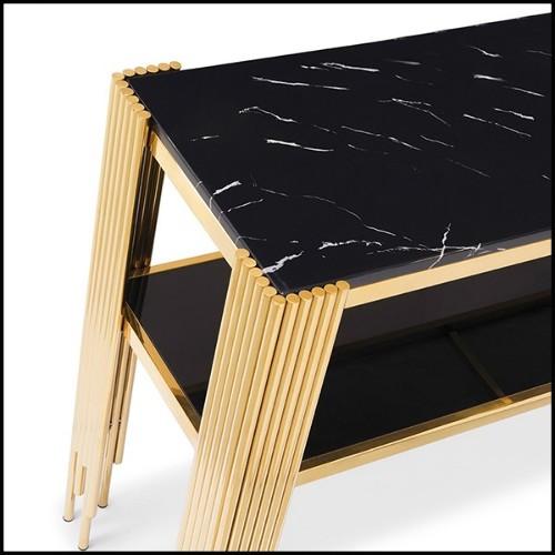 Table haute en acier finition noir et plateau en marbre 24-Mercier