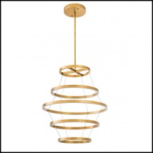 Chandelier in brass in antique finish with integrated LED lights 24-Elements