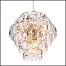 Chandelier in nickel and clear crystal glass 24-Amazone L