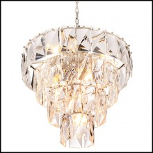 Chandelier in nickel and clear crystal glass 24-Amazone S
