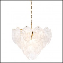 Chandelier in brass in antique finish and hand blown frosted glass 24-Novida