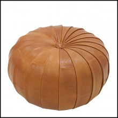Pouf couvert de véritable cuir coloris brown 176-Shell