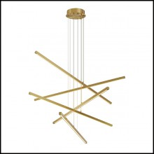 Chandelier in brass with integrated LED lights 24-Kimpton