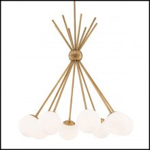 Chandelier with structure in brass in antique finish 24-Luxor
