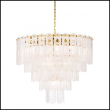 Chandelier with structure in gold finish and frosted glass 24-Riveria